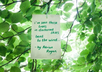 Beneath The Boughs poetry installation: created by Katie Hale at Lowther Castle & Gardens, Cumbria. Funded by Arts Council England.