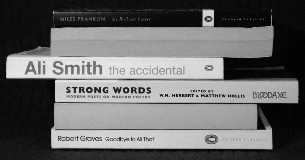 Spine poetry by Katie Hale, inspired by Nina Katchadourian