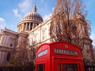 Red telephone box and St Paul's Cathedral, London - photo by Katie @ Second-Hand Hedgehog travel blog
