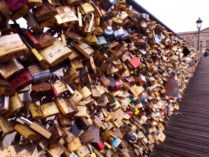 Love locks on the Pont des Arts in Paris - photo by Katie @ Second-Hand Hedgehog travel blog