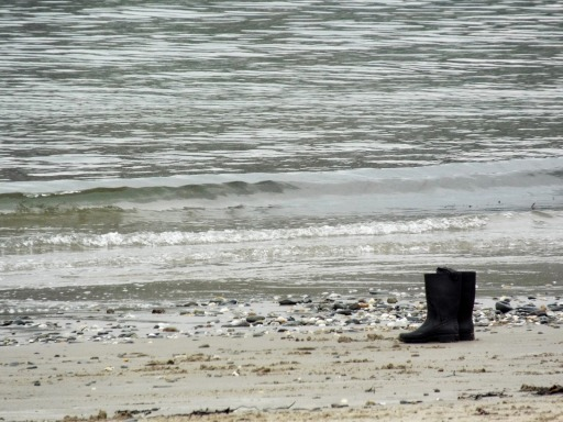 Wellies on Port Erin beach on the Isle of Man - photo by Katie @ Second-Hand Hedgehog travel blog