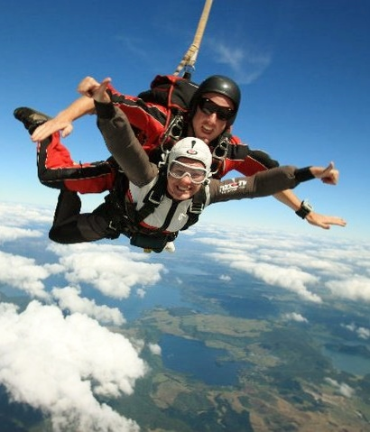 Skydiving over Lake Rotorua, New Zealand - photo by Katie @ Second-Hand Hedgehog travel blog