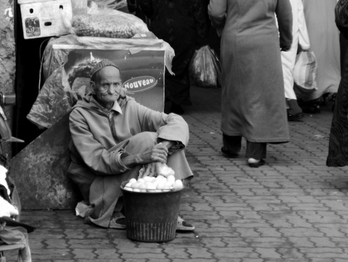 Man selling eggs, Marrakesh - Katie Hale, Cumbrian poet / writer