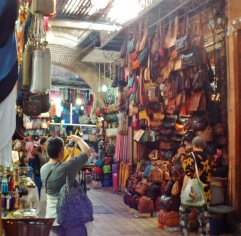 Leather handbags in the souk, Marrakesh - Katie Hale, Cumbrian poet / writer