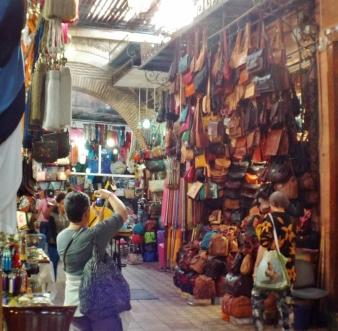 Leather handbags in the souk, Marrakesh - Katie Hale, Cumbrian poet / writer