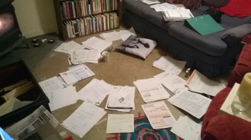 Sorting a year's worth of paperwork for my tax return. Katie Hale, Cumbrian poet / writer etc