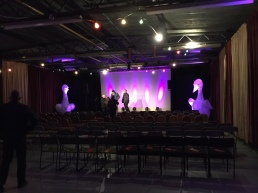 Sound check at Penrith Old Fire Station before Cumbria Flood Appeal comedy night