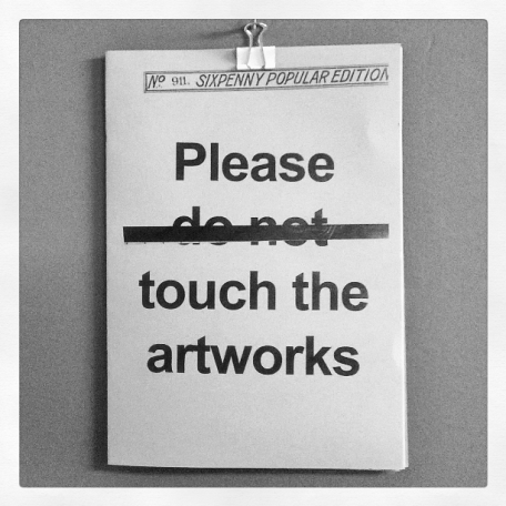 'Please touch the artworks': on the wall in the new Mess at Eden Arts Penrith Old Fire Station