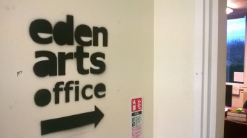 New stencilled sign at the Eden Arts Office, Penrith Old Fire Station