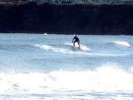 Watching surfers on East Sands, St Andrews