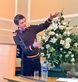 Harry Man talking poetry with some flowers: StAnza 2016