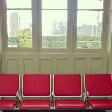 Waiting room at Penrith Station, with a view of the castle through the window