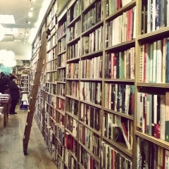 Sliding ladders in Topping's Bookshop, St Andrews
