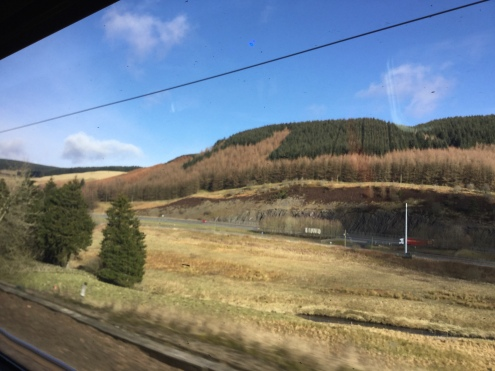 Writing on the train to StAnza: view from the 'office'