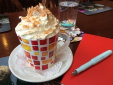 Writing time with hot chocolate