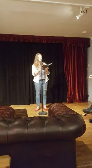 Katie Hale reading at Verbalise Open Mic Night, Kendal