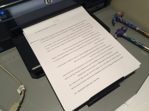 Printing the first draft of the novel!