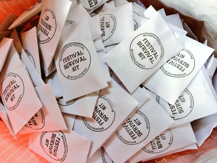 Kendal Poetry Festival 2018: guerrilla poetry, Festival Survival Kits