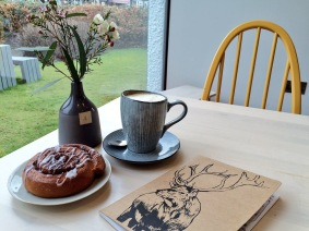 Writing poetry in a cafe in Grasmere