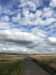 Road leading over the horizon with blue sky and clouds overhead