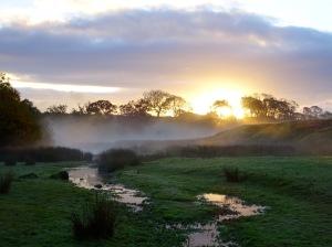 Cumbrian sunrise on a foggy autumn morning
